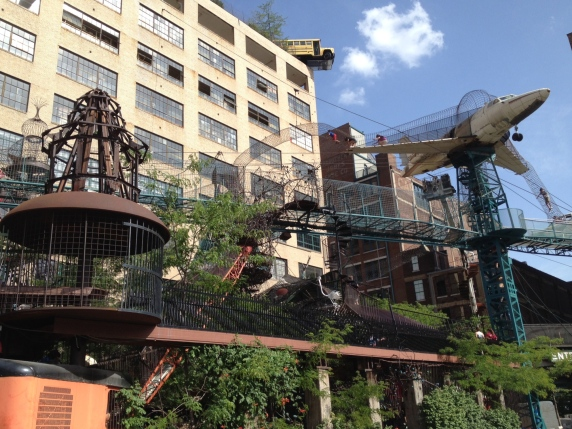 The outdoor area of the City Museum, a magical place where people of all ages can run, jump, climb, and exlplore