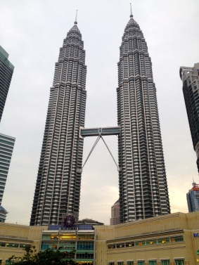 The Petronas Towers are actually the same size. I guess I took the picture from a strange angle.