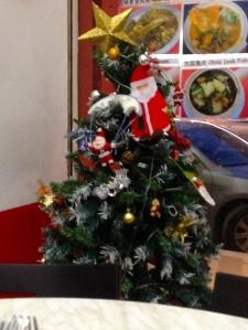 Christmas tree in the Chinese restaurant where we ate dinner . . . in September