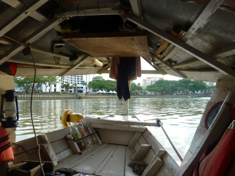 The interior of the motorboat that we took from one side of the river to the other