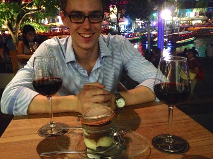 Mitch with a very reasonably priced tiramisu and two delicious glasses of wine at Boat Quay. Please note that the tiramisu came in a jar!