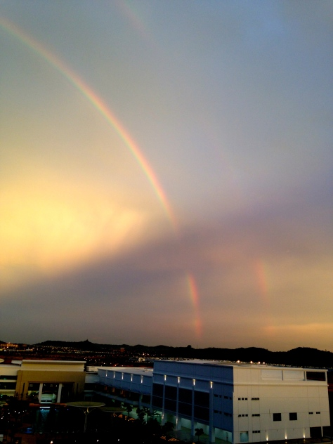 Notice the double arc. One of my friends told me that rainbows are always in pairs, though we can't always see both of them. Who knew?