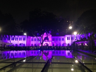 Light show with fire dancers at the Singapore Art Museum