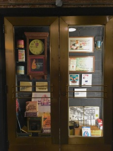 Neat display case of Chelsea Market relics from years past.